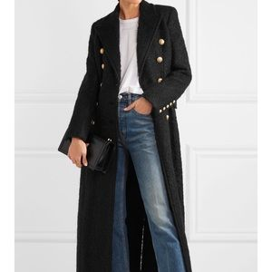 Balmain Double Breasted Mohair and Wool Coat